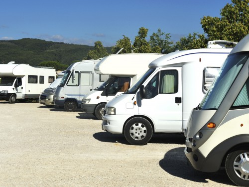 Motorhomes at campsite in France